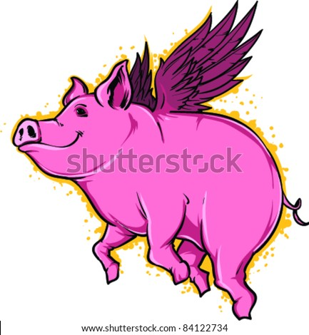 Vector Tattoo Flying Pig - stock vector