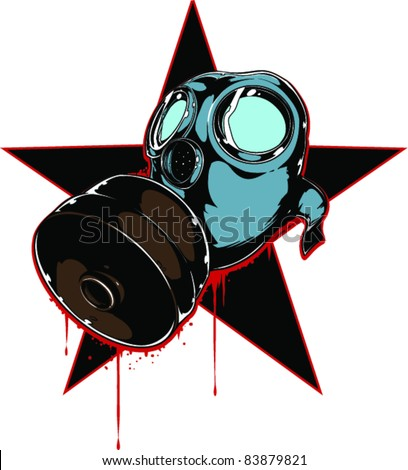 Vector Tattoo Gas Mask - stock vector