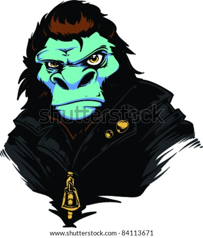 Vector Tattoo Gorilla - stock vector