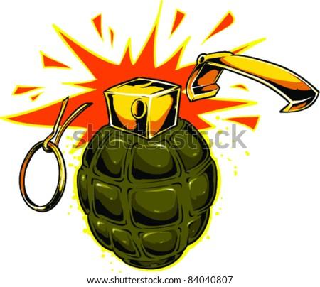 Vector Tattoo Grenade - stock vector