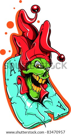 Vector Tattoo Joker - stock vector
