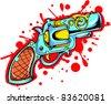 Vector Tattoo Pistol - stock vector