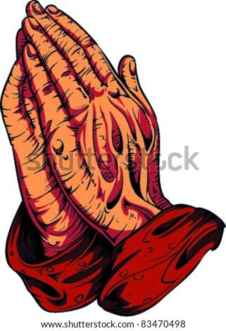 Vector Tattoo Pray Hands - stock vector