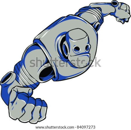 Vector Tattoo Robot - stock vector