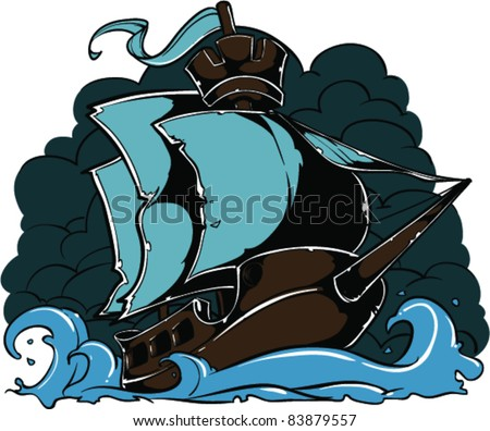 Vector Tattoo Ship - stock vector