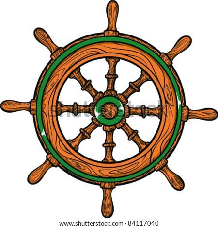 Vector Tattoo  Ship Wheel - stock vector