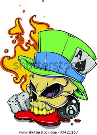 Vector Tattoo Skull - stock vector