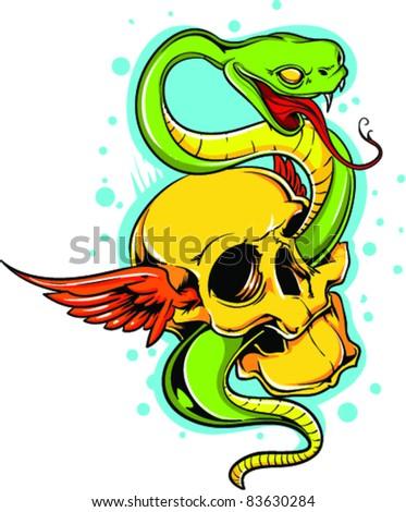 Vector Tattoo Snake - stock vector