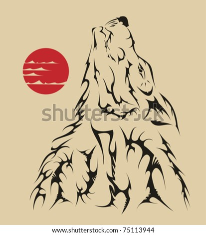 Vector tattoo style wolf - stock vector