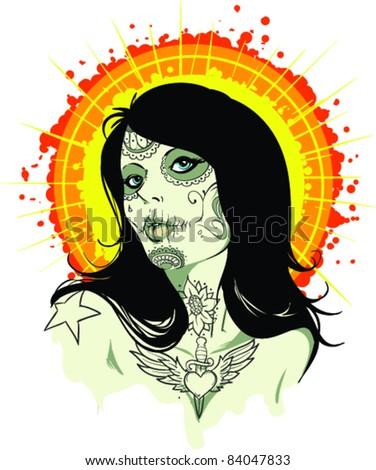 Vector Tattoo Zombie Girl - stock vector