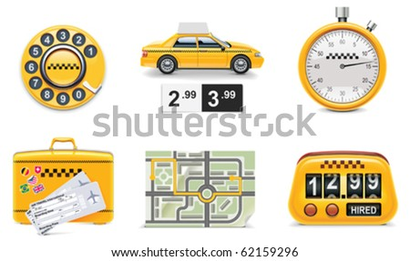 Vector taxi and transportation service icon set. part 1