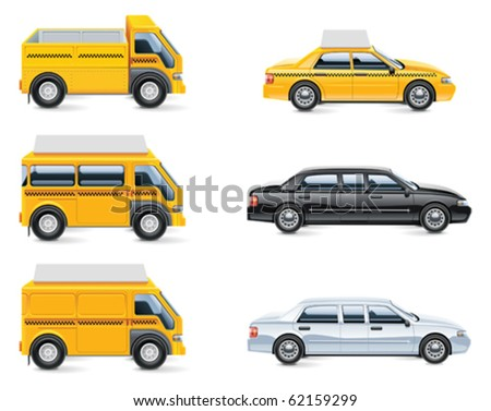 Vector taxi and transportation service icon set. part 3 - stock vector