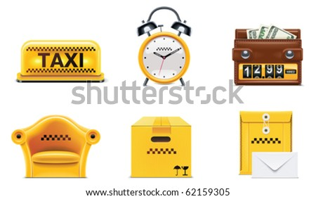 Vector taxi and transportation service icon set. part 2 - stock vector