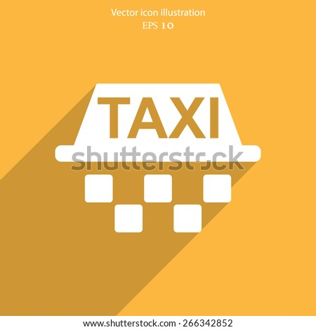Vector taxi flat icon illustration. - stock vector