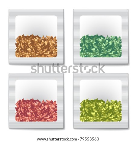 vector tea bags isolated