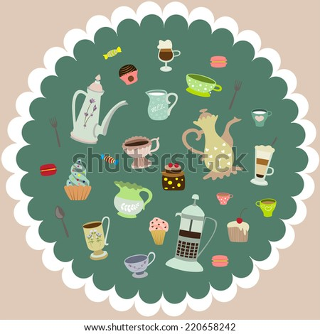 vector tea cups, mugs, cakes, coffee pots, candies - stock vector