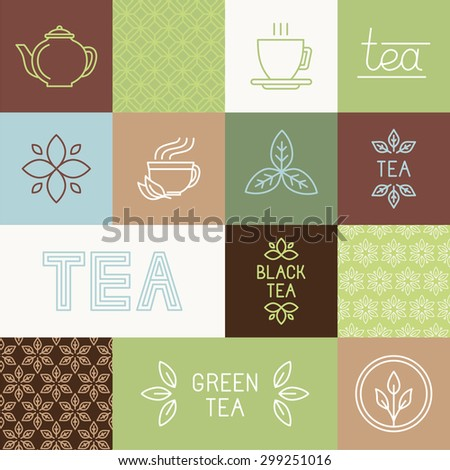 Vector tea package design elements in trendy mono line style - linear logos, hand-lettering, seamless patterns and icons - stock vector