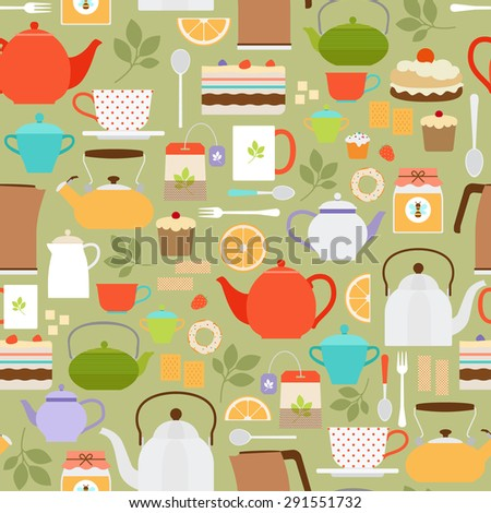 Vector tea seamless pattern with teapots and cups - stock vector
