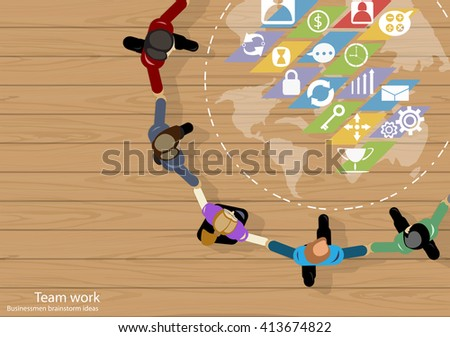 Vector team work Businessmen brainstorm ideas to work, hand in hand together with a world map, icon, used in business applications flat design - stock vector