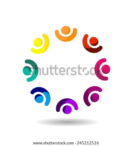 Vector teamwork business concept. Community,workers,unity,partners ,social networking icon image logo template - stock vector