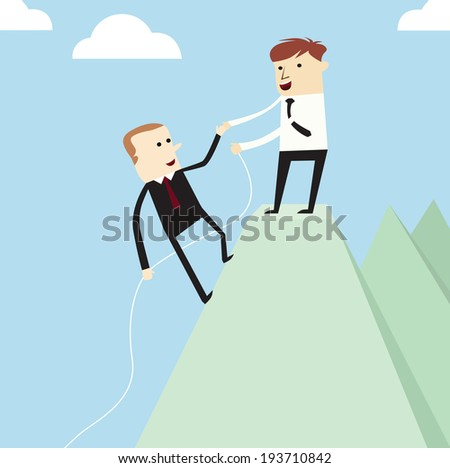 Vector teamwork concept,businessman holds one's hand to help each other on the mountain - stock vector