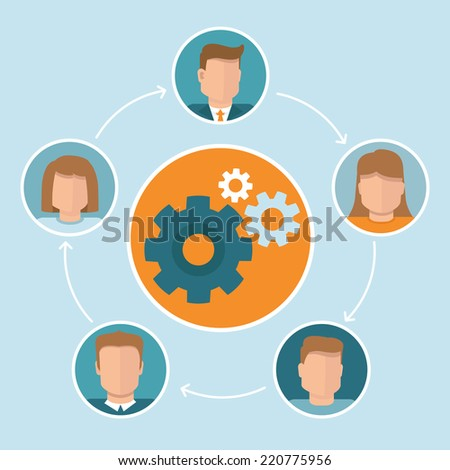 Vector teamwork concept in flat style  - infographic design elements - stock vector