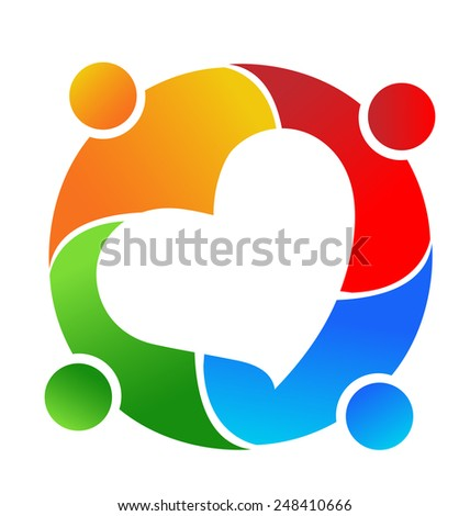 Vector teamwork concept of community,workers,unity,partners ,social networking heart icon image logo template - stock vector