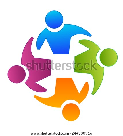 Vector teamwork concept of community,workers,unity,partners ,social networking icon image logo template - stock vector