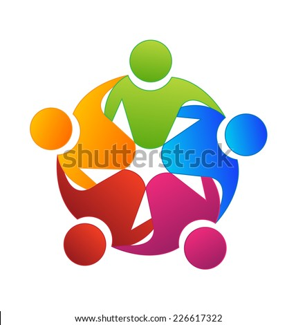 Vector teamwork concept of community,workers,unity,social networking icon image logo template - stock vector