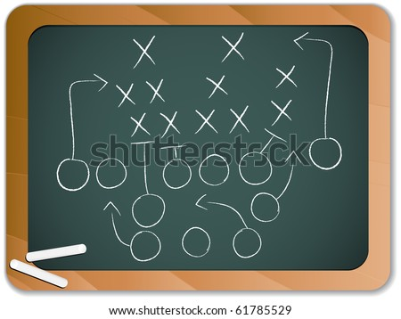 Vector - Teamwork Football Game Plan Strategy on Blackboard - stock vector