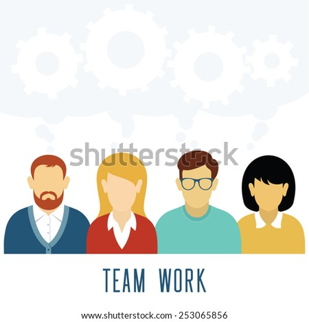 Vector Teamwork Gears Concept. Business team working together. People icons with gears. - stock vector