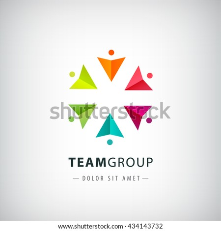 vector teamwork logo, social net, people together icon, company outline logo isolated. Circle origami men