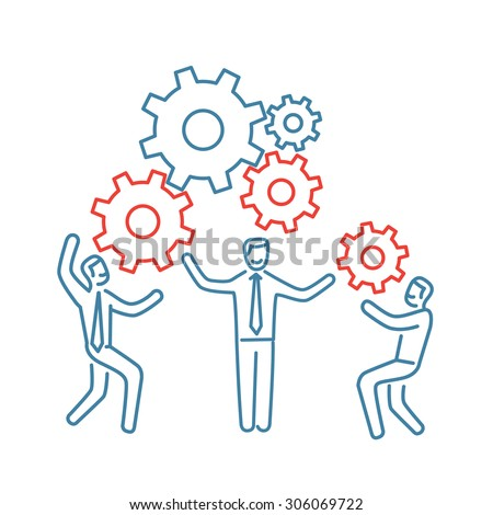 Vector teamwork skills icon of businessman with gears building engine together | modern flat design soft skills linear illustration and infographic blue and red on white background