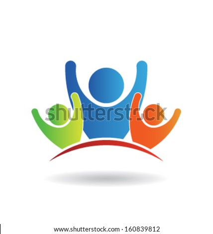Vector Teamwork Three Friends. Group of People - stock vector