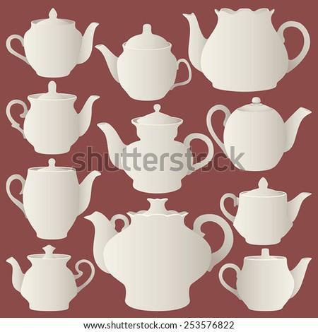 vector teapots - stock vector