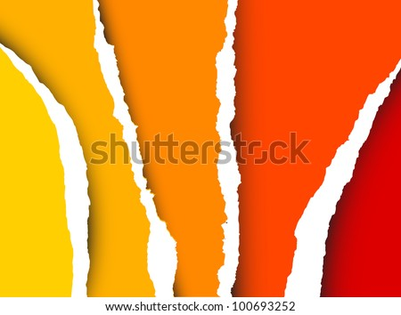 Vector Tear paper - abstract background (yellow, orange, red) - stock vector