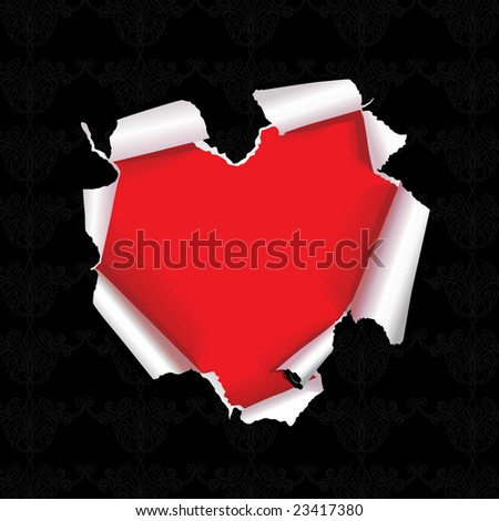 vector tear paper heart - stock vector