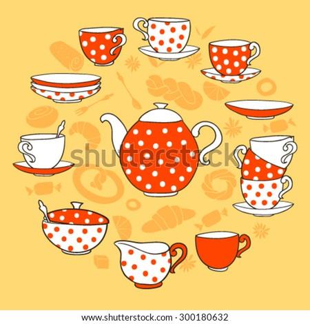 Vector TeaTime illustration, with red and white polka-dot tea porcelain set on orange background - stock vector