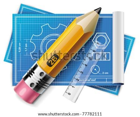 Vector technical drawing XXL icon - stock vector