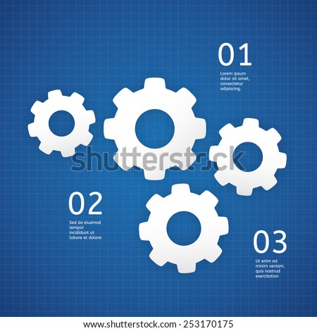 Vector technical template white cogwheels on stock vector 2018 vector technical template white cogwheels on blueprint background template with place for your text malvernweather Image collections