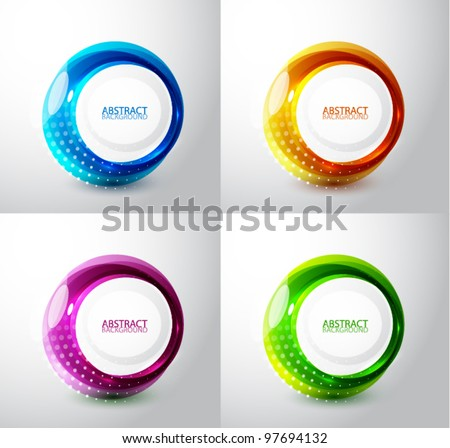 Vector techno circles backgrounds with sample text - stock vector