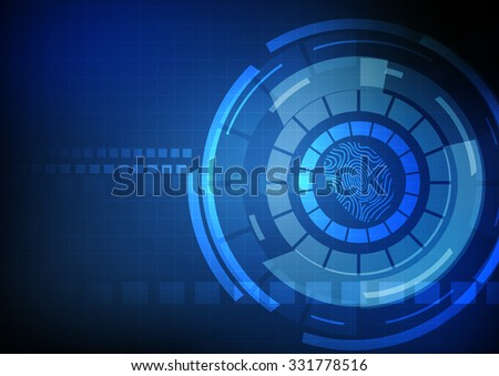 Vector : Technology abstract circle and finger print on blue background