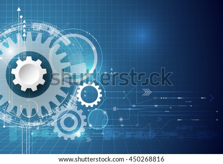 Vector technology background. illustration gear wheel, hexagons and circuit board, Hi-tech technology engineering, digital telecoms technology concept. Abstract futuristic on  blue color background - stock vector