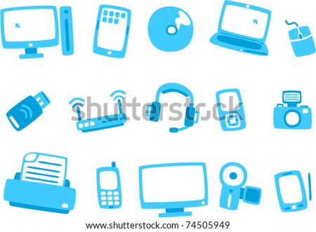 vector technology blue icon series 1 (Separate layers for easy editing) - stock vector