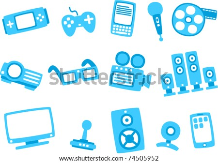 vector technology blue icon series 2 (Separate layers for easy editing) - stock vector