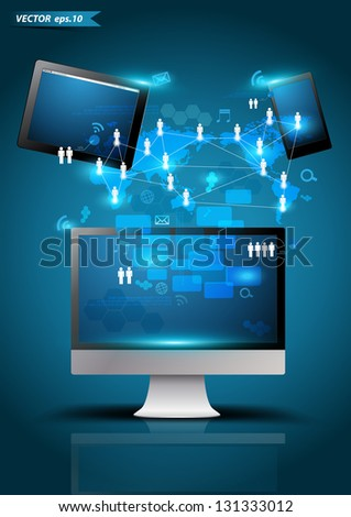 Vector technology business, Modern design template creative concept network process diagram on computer screen, Tablet PC, Mobile phones - stock vector