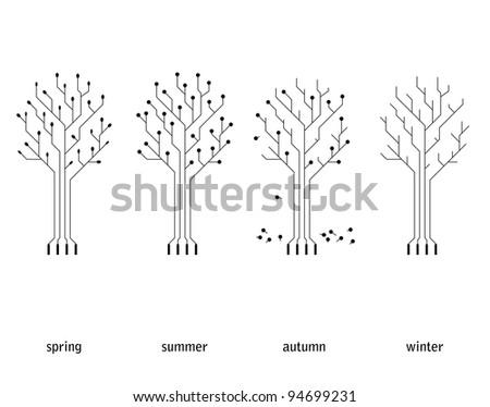 vector technology seasonal conception (circuit board tree) - stock vector