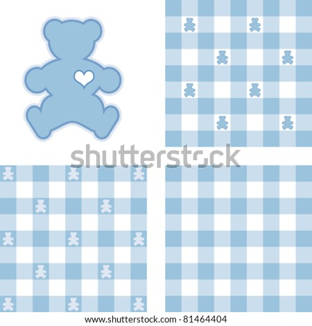 vector - Teddy Bear and Gingham Seamless Patterns, pastel blue. Big heart Teddy Bear, 3 check designs. EPS8 file has 3 pattern tiles that will seamlessly fill any shape. - stock vector