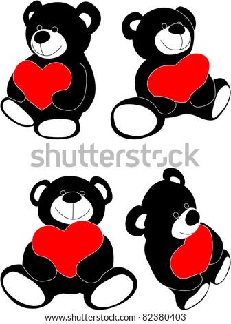 Vector teddy bear with heart - stock vector
