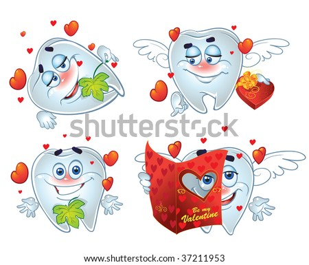 vector Teeth on romantic Valentin`s Day - stock vector